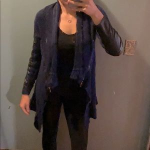 Navy cardigan with faux leather sleeves